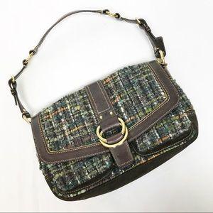 Coach Chelsea Tweed Buckle Flap Handbag